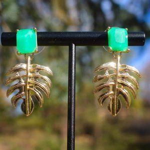 Gold Monstera Leaf Plant Dangle Drop Earrings